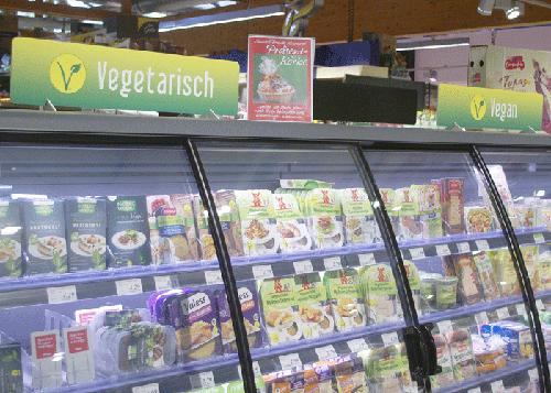 Beschilderung Kühlregal vegetarisch, vegan, laktosefrei