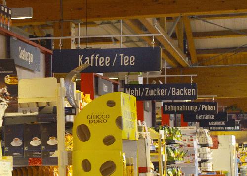 Verkaufsraumbeschilderung Trockensortiment, hängend